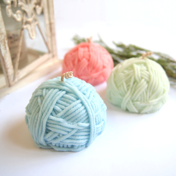 Yarn Ball Candle